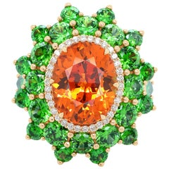 7.64 Carat Spessartine Russian Demantoid Diamond 18 Karat Gold Fashion Ring