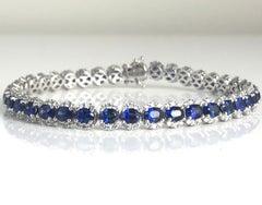 7.64 Carat Vivid Blue Sapphire and Diamond Bracelet in 18k White Gold