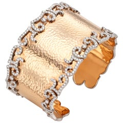 7.65 Carat Diamond 18 Karat Hammered Rose Gold Cuff Bangle
