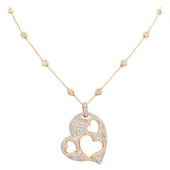7.65 Carat Micro-Pave Diamond Open-Work Heart Shape Pendant Necklace