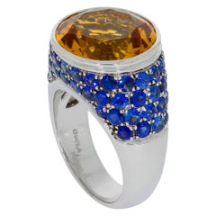 Chatila 7.66 Carat Citrine and Sapphire Ring