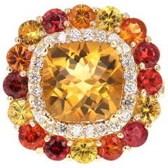 7.66 Carat Citrine Sapphire Diamond 14 Karat Yellow Gold Cocktail Ring
