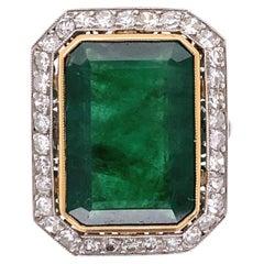 7.66 Carat Emerald and Diamond Platinum Cocktail Ring Estate Fine Jewelry
