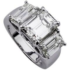 7.66 Carat Emerald-Cut Three-Stone 18 Karat White Gold Diamond Engagement Ring