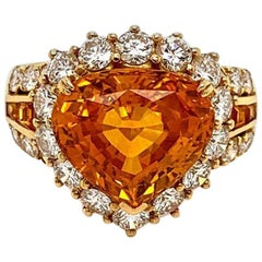 7.66 Carat Orange Sapphire Diamond Gold Ring