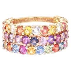 7.66 Carat Round Cut Multicolored Sapphire 14 Karat Gold Stackable Bands