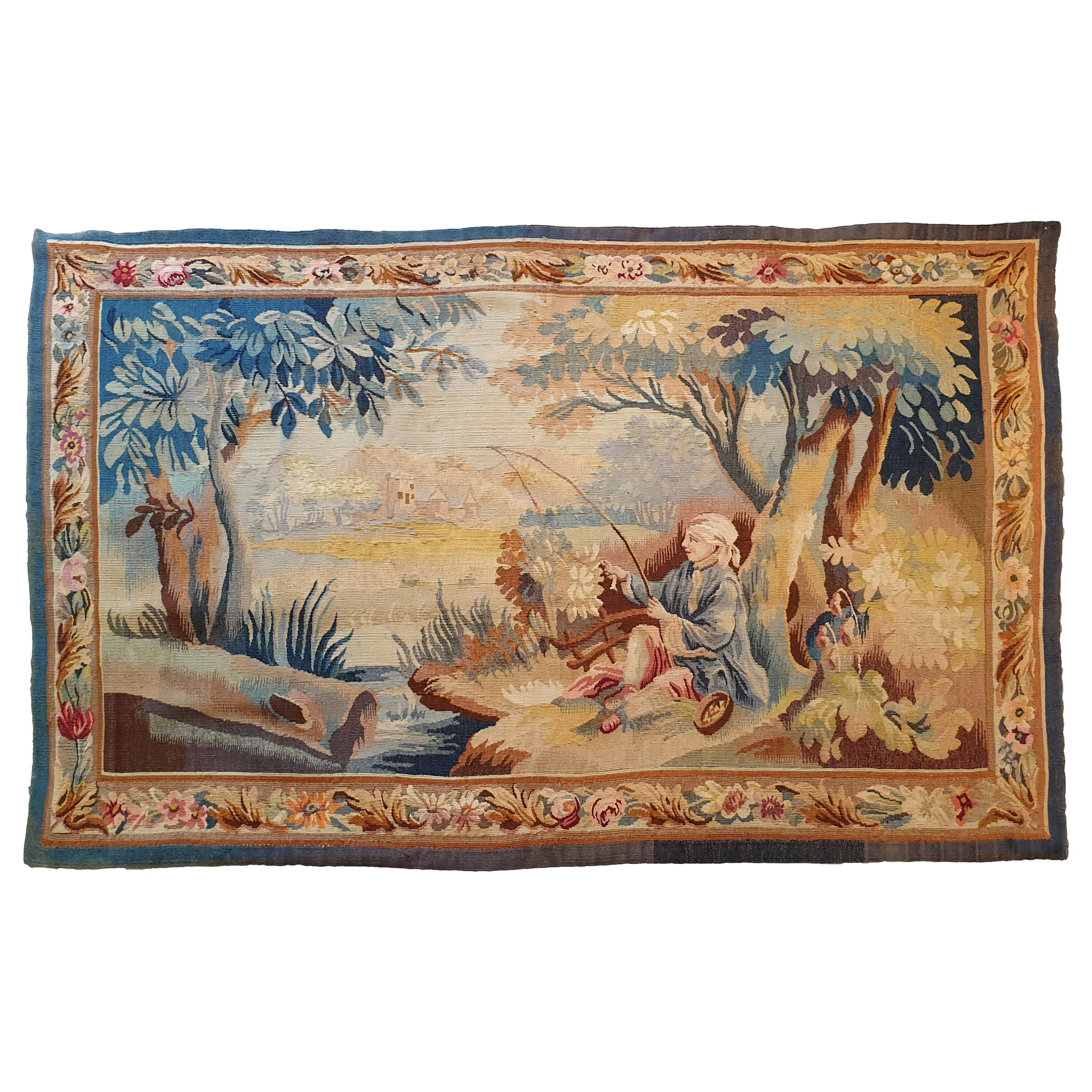 """767 - 20th Century Aubusson Tapestry """"Fisherman"""""""