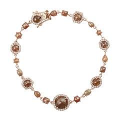 Fancy Slice Diamond 18 Karat Gold Bracelet