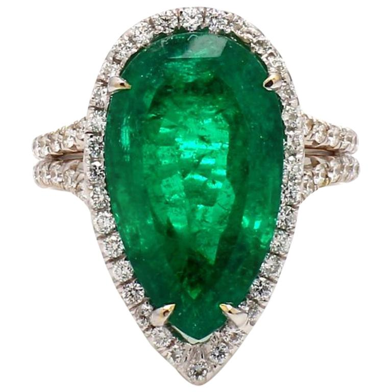 7.67 Carat Pear Shaped Emerald Ring, AGL Certified with Diamonds