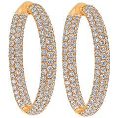 Roman Malakov, 7.68 Carat Micro-Pave Round Diamond Hoop Earrings