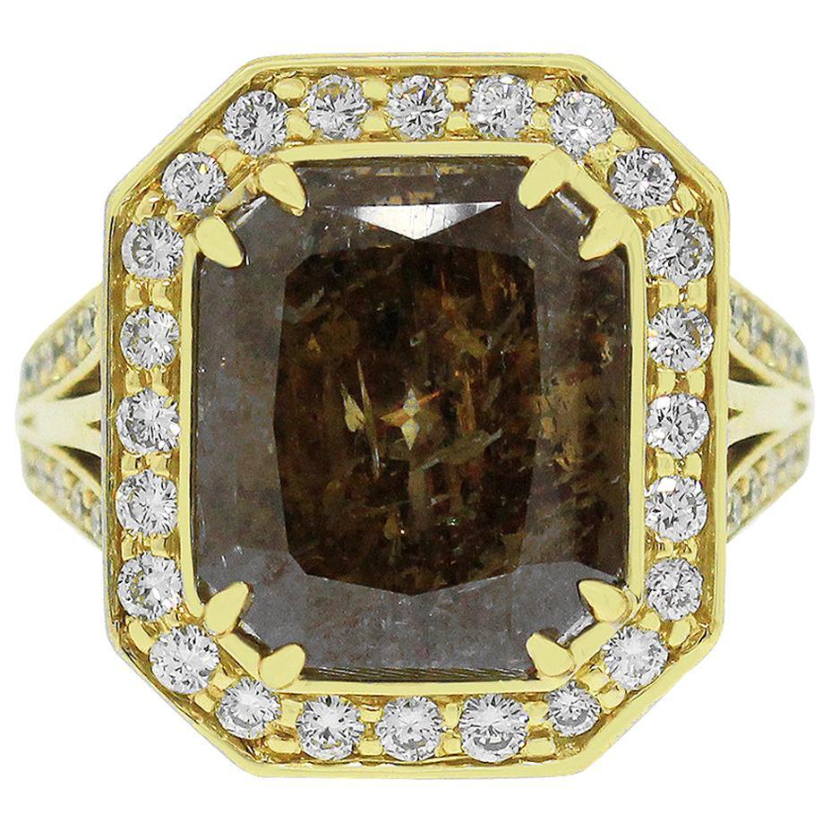 7.68 Carat Radiant Brown Diamond Ring