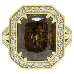 7.68 Carat Radiant Brown Diamond Ring