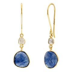 7.68 Carat Rose Cut Blue Sapphire Diamond 18 Karat Yellow Gold Artisan Earrings
