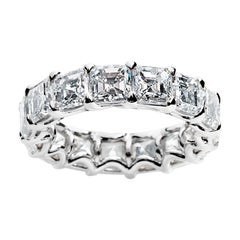 7.69 Carat Asscher Cut Eternity Band Ring