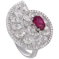 Rarever 18k White Gold 1.63cts Natural Burmese Ruby Rose Cut Diamond Ring
