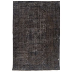 7.6 x 11.4 Ft Vintage Handmade Distressed Turkish Rug Over-dyed in Taupe, Blue