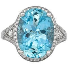 7.7 Carat Aquamarine and Diamond Ring in 18 Karat White Gold