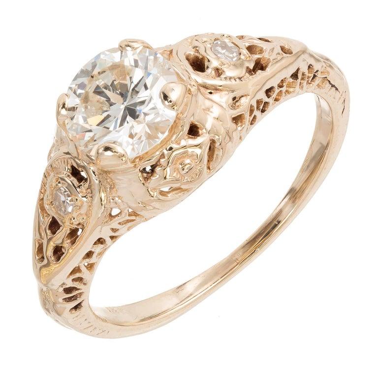 .77 Carat Art Deco Diamond Transitional Cut Filigree Gold Engagement Ring