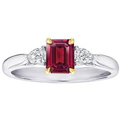 .77 Carat Emerald Cut Natural No heat Ruby and Diamond Platinum and 18k Ring