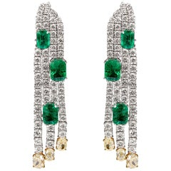7.7 Carat Emerald, Yellow and White Diamond Earrings in 18 Karat White Gold