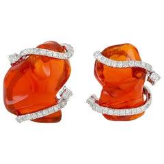 7.7 Carat Fire Opal 18 Karat Gold Diamond Stud Earrings