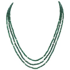 77 Carat Genuine & Natural Emerald Faceted Beads Necklace with Pearls, 14K Gold