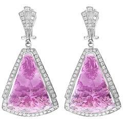 UGL Certified 77 Carat Kunzite & Diamond Hanging Drop Earring 18Karat White Gold