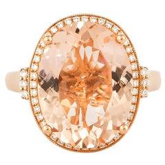 7.7 Carat Morganite and Diamond Ring in 18 Karat Rose Gold