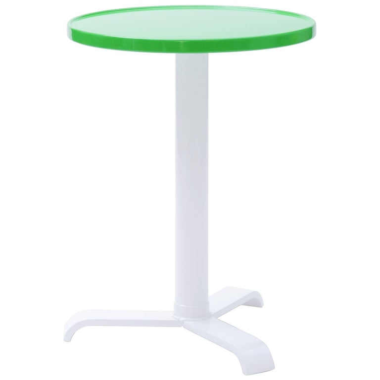 77 Round Pedestal Table In Painted Stainless Steel By Tolix For