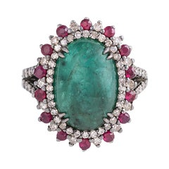 7.70 Carat Cabochon-Cut Emerald, Diamond, and Ruby Cocktail Ring in Art-Deco