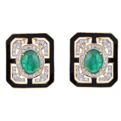 7.70 Carat Emerald Diamond Black Enamel Yellow Gold 18 Karat Earrings