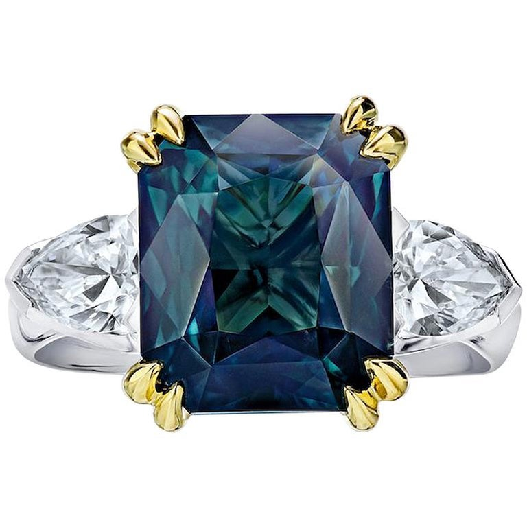 7.70 Carat Radiant Cut Green Sapphire and Diamond Ring For Sale
