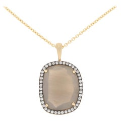 7.70 Carat Smoky Moonstone and Diamond Pendant Necklace, 14 Karat Gold Halo