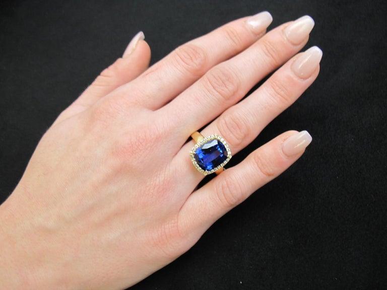 7.70 Carat Tanzanite Cushion, Diamond Halo Yellow Gold Cocktail Ring For Sale 8