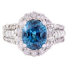 7.70 Carat Zircon 18 Karat Solid White Gold Diamond Ring