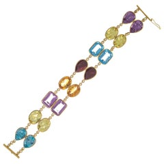 77.00 Carat Amethyst Topaz Garnet Quartz Citrine Two-Row Gold Bracelet