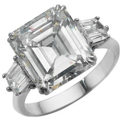 7.71 Carat GIA Emerald Cut Diamond Platinum Ring
