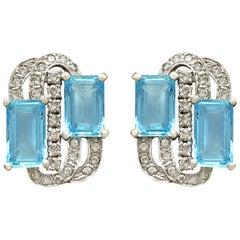 7.72 Carat Aquamarine and 1.18 Carat Diamond Gold Earrings