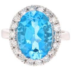 7.72 Carat Blue Topaz Diamond White Gold Engagement Ring