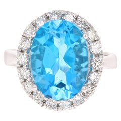 7.72 Carat Blue Topaz Halo Diamond 4 Karat White Gold Ring