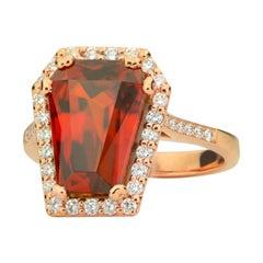 7.72 Carat Fiery Orange Spessartite Garnet Diamond Halo Ring in 18 Karat Gold
