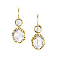 6.74 ct. t.w. Moonstone Oval, Round Cabochon, Yellow Gold Wire Drop Earrings