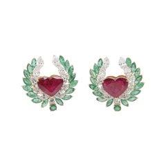 7.72 Carat No Heat Thai Ruby, Emerald and Diamond Earring 18k Gold