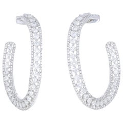 7.72 Carat White Gold Diamond Hoop Earrings