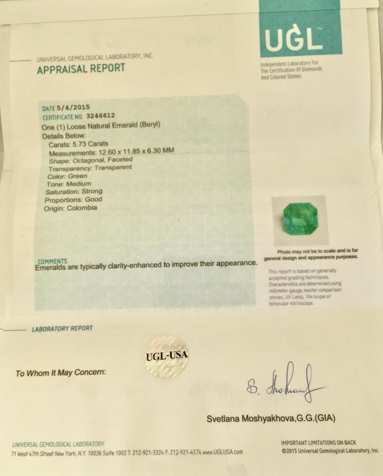 7.73 Carat Certified Fine Natural Colombian Emerald and Diamond 18K Ring For Sale 5