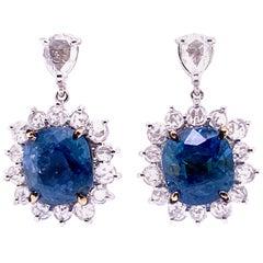 7.73 Carat GRS Certified Unheated Burmese Sapphires and Diamond Gold Earrings