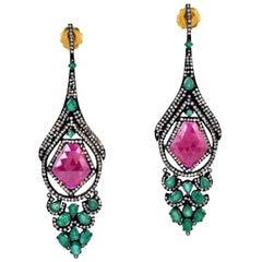 7.74 Carat Emerald Ruby Diamond Earrings