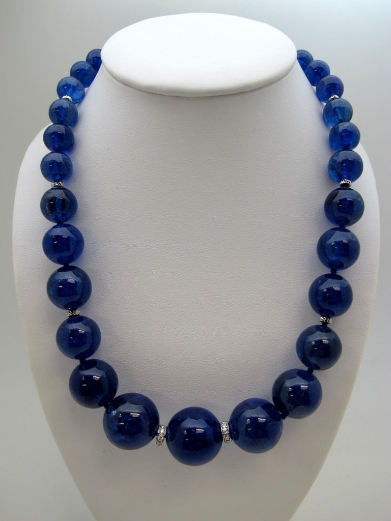 774 Carat Tanzanite Beads with Diamond Rondelles Necklace 18 Karat White Gold In New Condition For Sale In Los Angeles, CA