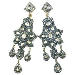 7.75 Carat Old Mine Cut Diamond 'Polki Diamond' Oxidized Sterling Silver Earring