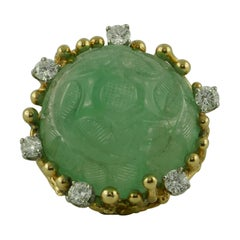 77.54 Carat Carved Emerald and Diamond 18 Karat Yellow Gold 1960s Ring